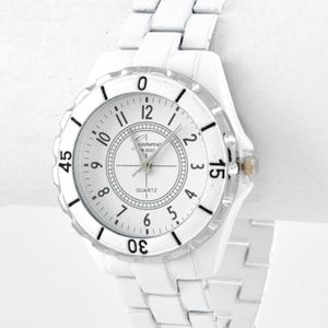 White Trendy Metal Watch NEW